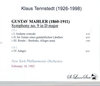 Klaus Tennstedt, Vol. XXII - (Mahler 9th - NYPO)   (2-St Laurent Studio YSL T-821)