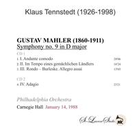 Klaus Tennstedt, Vol. XXIII - (Mahler 9th - Philadelphia Orch., Carnegie  Hall)  (2-St Laurent Studio YSL T-822)