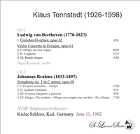 Klaus Tennstedt, Vol. XXXI;  Nigel Kennedy - NDR  (2-St Laurent Studio YSL T-908)