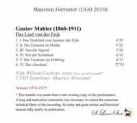 Maureen Forrester, Vol. V;  William Cochran;  Abravanel (Mahler)  (St Laurent Studio YSL T-583)