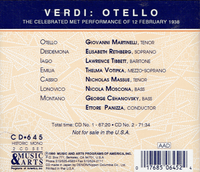 Otello (1938 Performance)  (Panizza;  Martinelli, Rethberg, Tibbett, Massue, Moscona)  (2-Music & Arts 645)