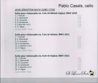 Pablo Casals, Vol. II  (Bach Cello Suites)    (St Laurent Studio YSL 78-031)