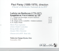 Paul Paray, Vol. XVIII - Beethoven 9th   (St Laurent Studio YSL T-591)