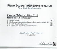 Pierre Boulez, Vol. XI - Mahler #9   (St Laurent Studio YSL T-584)