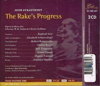 Rake's Progress  - World Premiere  (Stravinsky;  Rounseville, Schwarzkopf, Tourel)  (2-Gala 100.567)