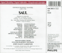 Saul (Handel)  (Gardiner;  Alastair Miles, Lynne Dawson, Donna Brown)  (3-Philips 426 265)