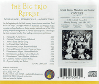 Belmando Trio  (Doug Back, Andrew Zohn & Richard Walz) - The Big Trio Reprise Concert  (Belmando 53001)