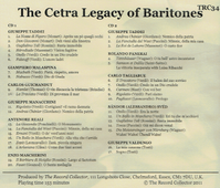 The Cetra Legacy of Baritones  (2-The Record Collector TRC 34)