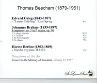 Thomas Beecham - Concert in memory of Toscanini   (St Laurent Studio YSL T-765)