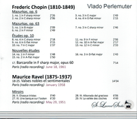 Vlado Perlemuter, Vol. II  -  Chopin & Ravel   (St Laurent Studio YSL T-811)