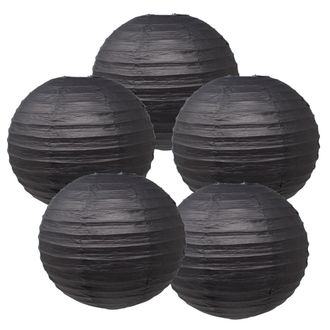 "10"" Black Chinese Paper Lanterns (Set of 5, 10-inch, Black) - Premier"