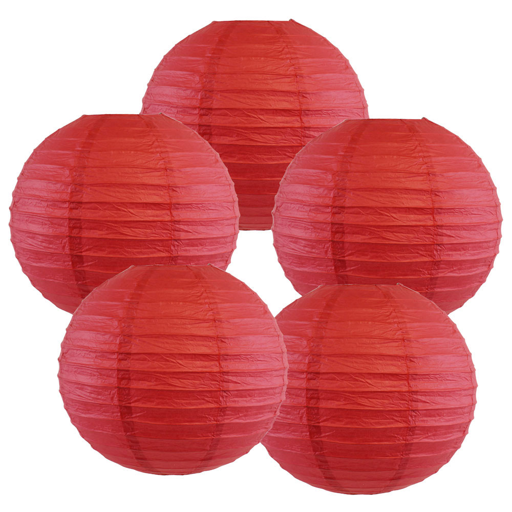 "10"" Dark Red Chinese Paper Lanterns (Set of 5, 10-inch, Dark Red) - Premier"