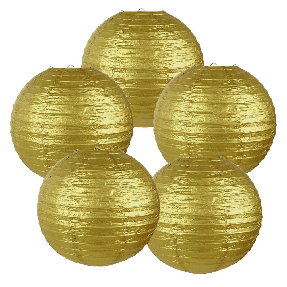 "10"" Gold Chinese Paper Lanterns (Set of 5, 10-inch, Gold) - Premier"