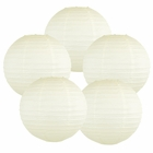 "10"" Ivory Chinese Paper Lanterns (Set of 5, 10-inch, Ivory) - Premier"