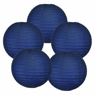 "10"" Navy Blue Chinese Paper Lanterns (Set of 5, 10-inch, Navy Blue) - Premier"