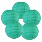"10"" Teal Blue Green Chinese Paper Lanterns (Set of 5, 10-inch, Teal Blue Green) - Premier"