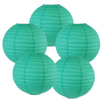 """10"""" Teal Blue Green Chinese Paper Lanterns (Set of 5, 10-inch, Teal Blue Green) - Premier"""