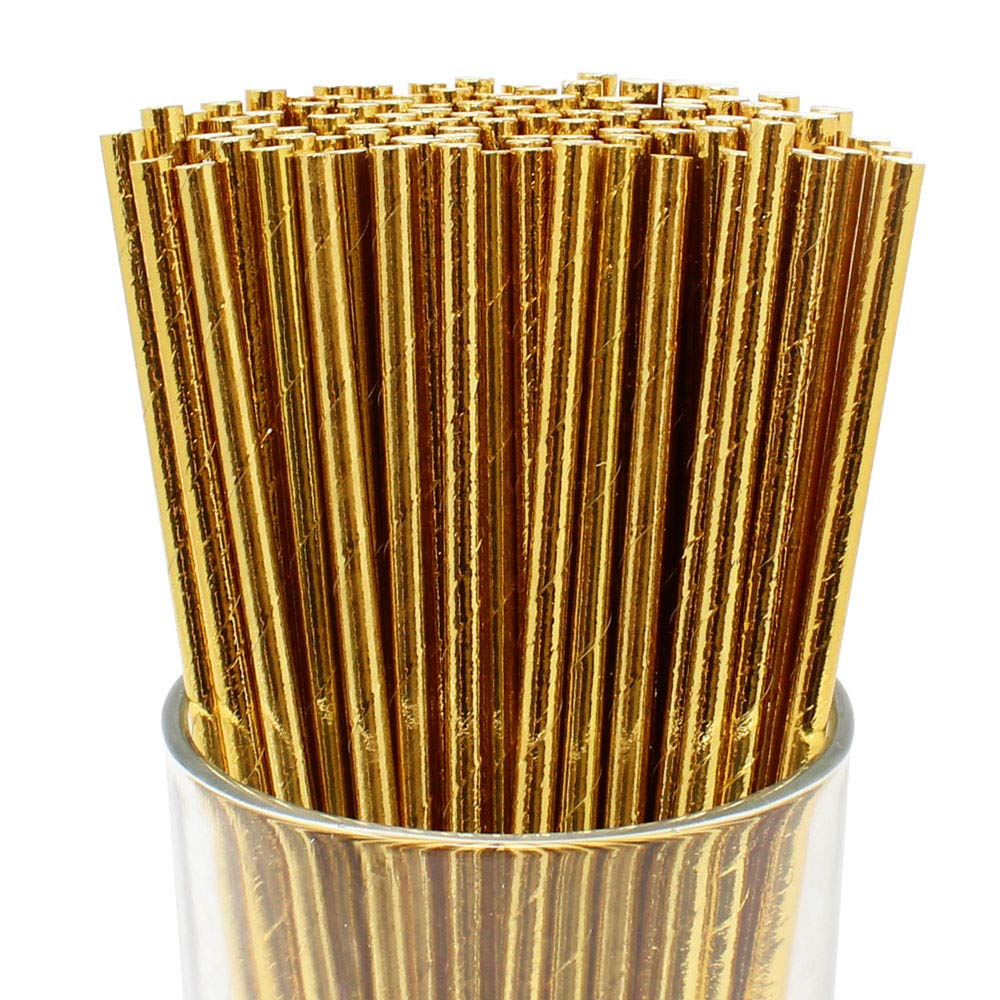 100pcs Premium Biodegradable Cocktail Paper Straws (Solid, Gold) - Premier