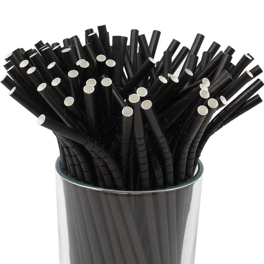 100pcs Premium Biodegradable Flexible Bendable Paper Straws (Solid, Black) - Premier