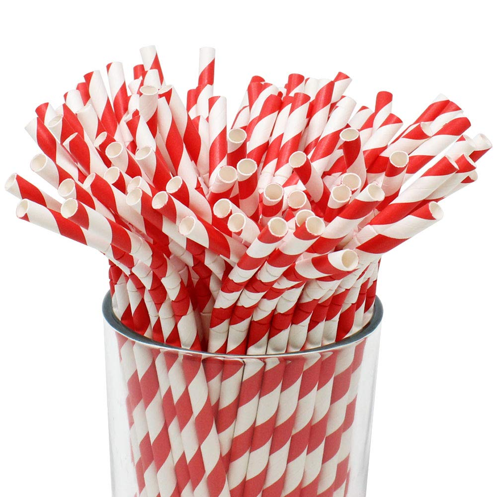 100pcs Premium Biodegradable Flexible Bendable Paper Straws (Striped, Cherry Red) - Premier
