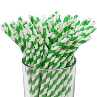 100pcs Premium Biodegradable Flexible Bendable Paper Straws (Striped, Kelly Green) - Premier