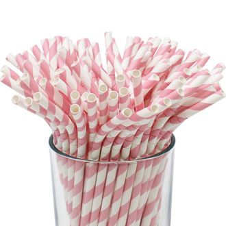 100pcs Premium Biodegradable Flexible Bendable Paper Straws (Striped, Tickled Pink) - Premier