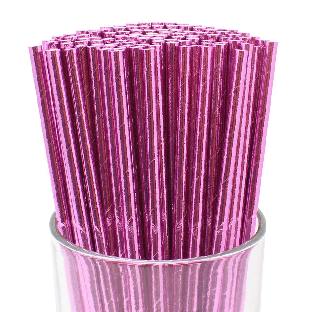 100pcs Premium Biodegradable Solid Paper Straws (Solid, Metallic Baby Pink) - Premier