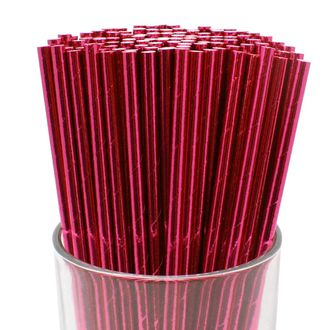 100pcs Premium Biodegradable Solid Paper Straws (Solid, Metallic Fuchsia) - Premier