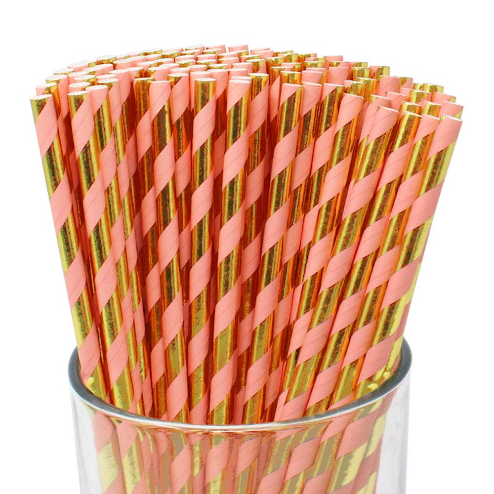 100pcs Premium Biodegradable Striped Paper Straws (Striped, Metallic Gold & Pink) - Premier