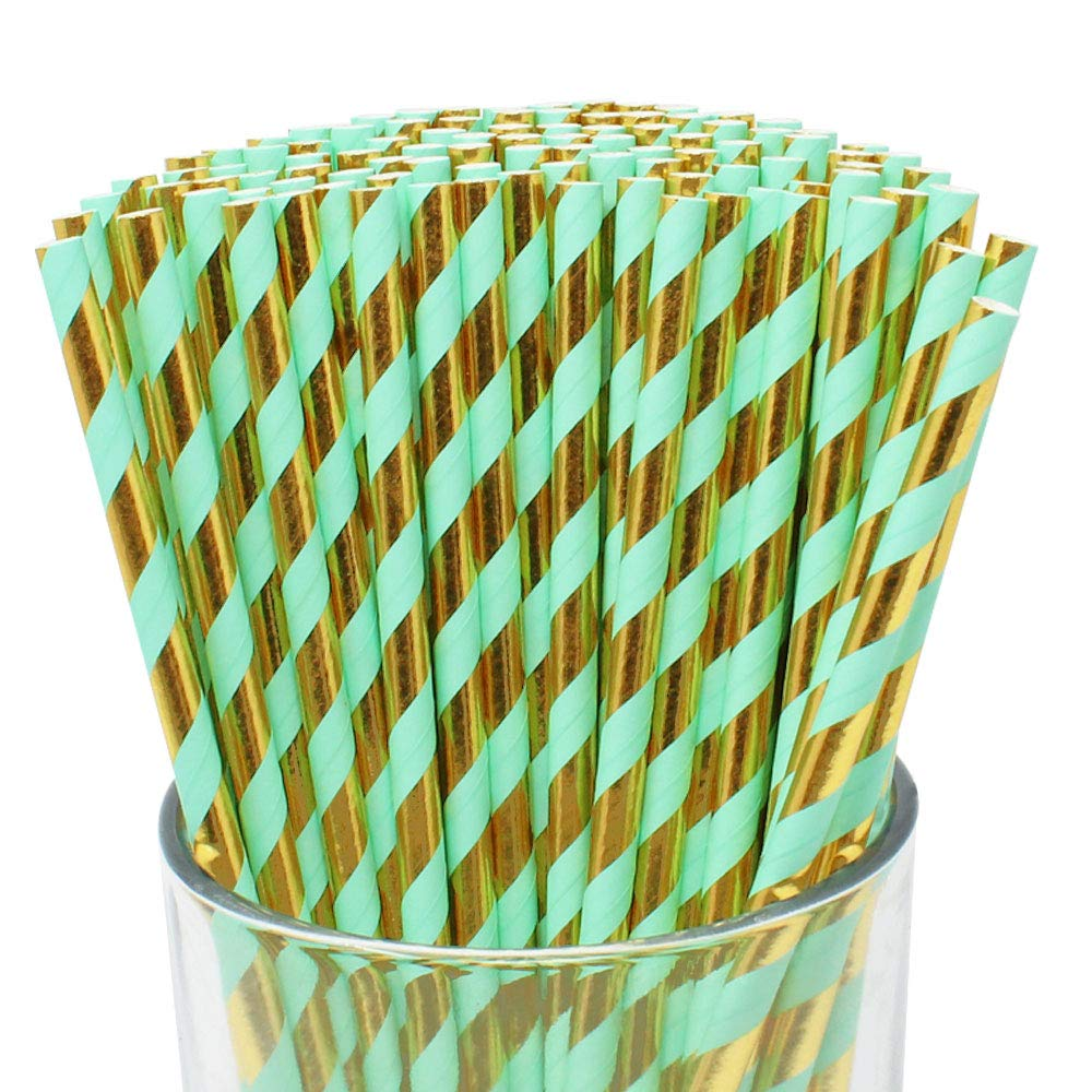 100pcs Premium Biodegradable Striped Paper Straws (Striped, Metallic Gold & Seafoam) - Premier