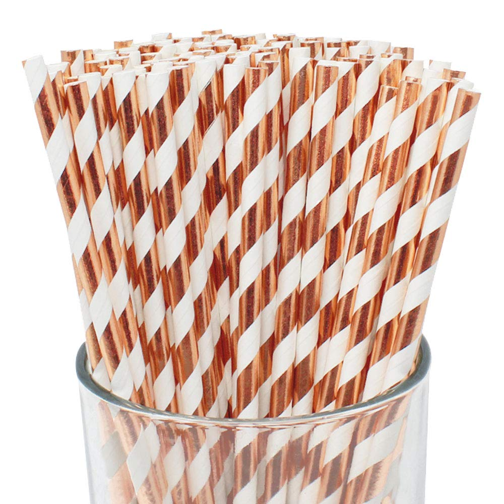 100pcs Premium Biodegradable Striped Paper Straws (Striped, Metallic Rose Gold) - Premier