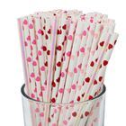 100pcs Premium Biodegradable Valentines Day Paper Straws (Color: Valentine) - Premier