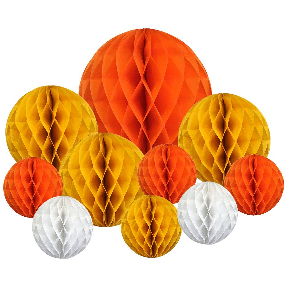 10pcs Decorative Assorted Honeycomb Balls (Autumn) - Premier