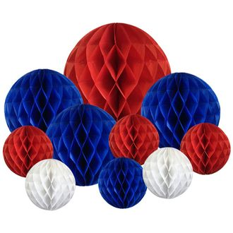10pcs Decorative Assorted Honeycomb Balls (Patriotic) - Premier