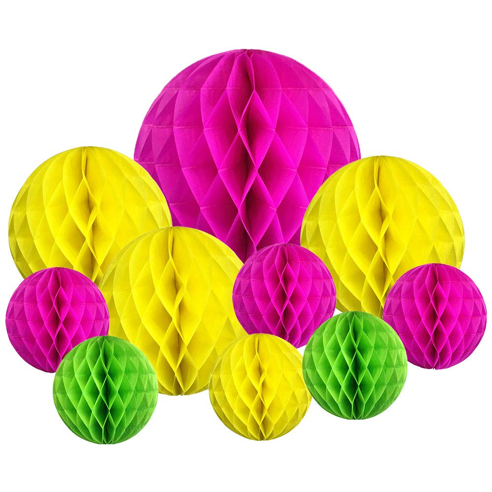 10pcs Decorative Assorted Honeycomb Balls (Summer) - Premier
