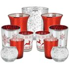 11pc Assorted Size Christmas Metallic Glass Votive Candle Holders (Color: Be Jolly) - Premier