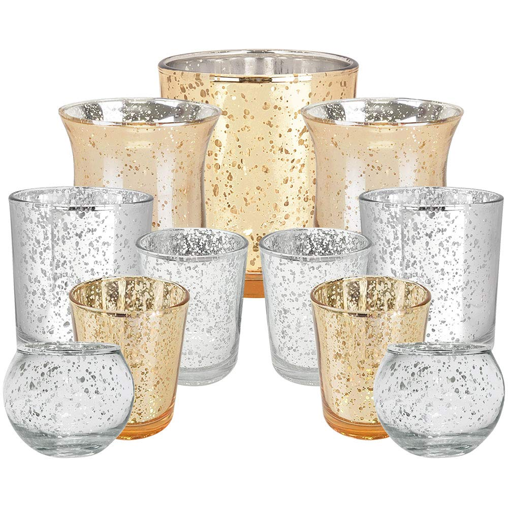 11pc Assorted Size Christmas Metallic Glass Votive Candle Holders (Color: Holiday Magic) - Premier