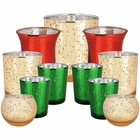 11pc Assorted Size Christmas Metallic Glass Votive Candle Holders (Color: Merry & Bright) - Premier