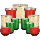 11pc Assorted Size Christmas Metallic Glass Votive Candle Holders (Color: Warm Wishes) - Premier