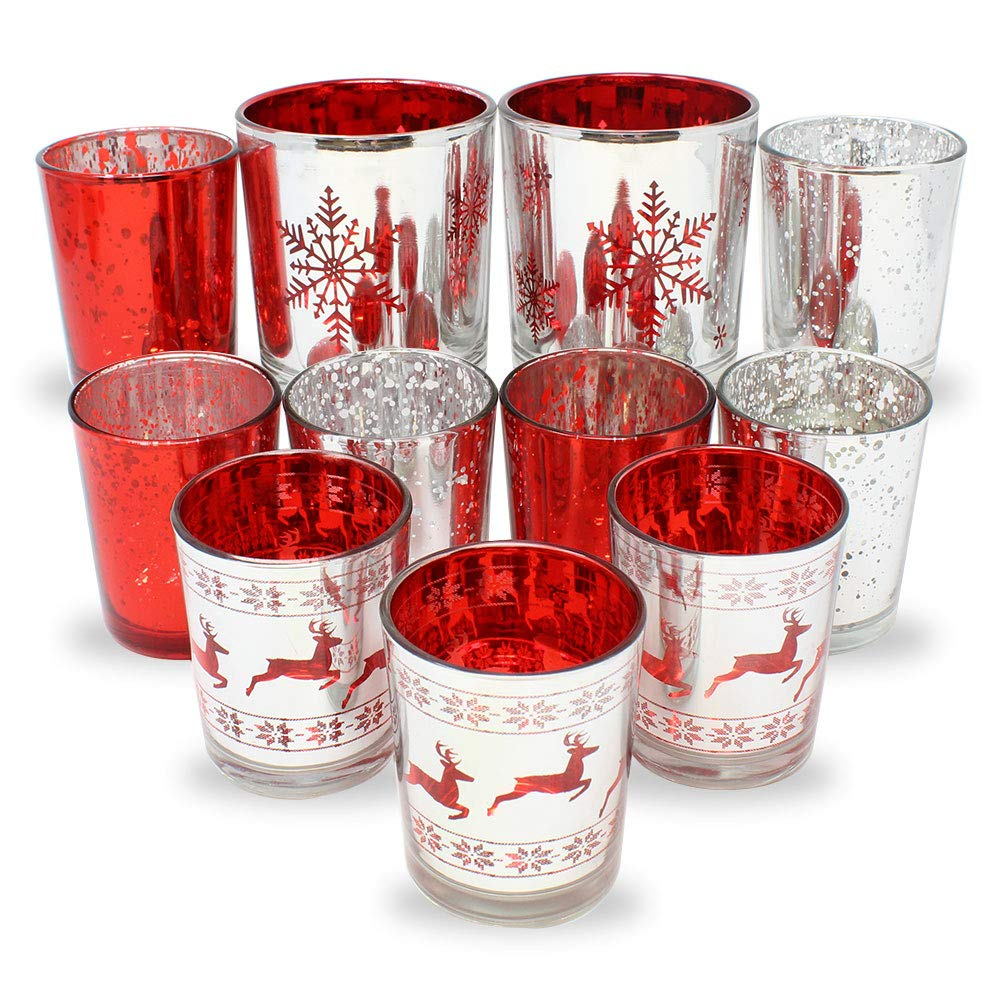 11pc Christmas Metallic Glass Votive Candle Holders (Color: Be Merry) - Premier