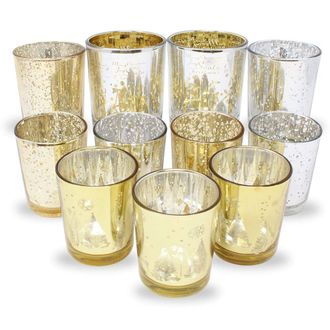 11pc Christmas Metallic Glass Votive Candle Holders (Color: Jingle Bells) - Premier