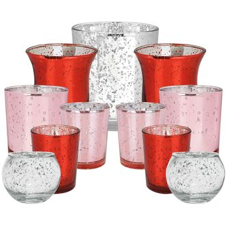 11pcs Assorted Size Valentines Day Metallic Glass Votive Candle Holders (Color: Be Mine) - Premier