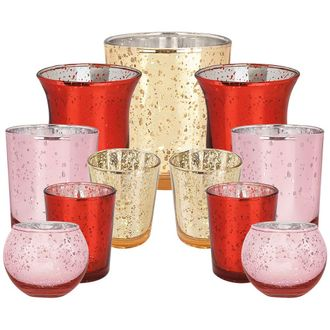 11pcs Assorted Size Valentines Day Metallic Glass Votive Candle Holders (Color: Love) - Premier