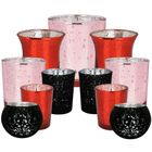 11pcs Assorted Size Valentines Day Metallic Glass Votive Candle Holders (Color: Romance) - Premier