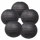 "12"" Black Chinese Paper Lanterns (Set of 5, 12-inch, Black) - Premier"