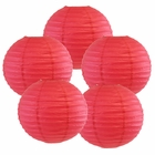 "12"" Flamingo Pink Chinese Paper Lanterns (Set of 5, 12-inch, Flamingo Pink) - Premier"