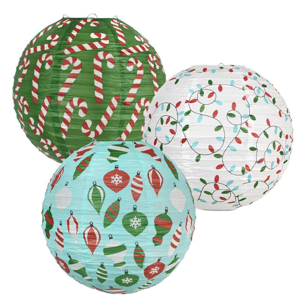 12-Inch Christmas Cheer Assorted Paper Lanterns (3pcs) - Premier