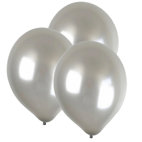 "12"" Latex Balloons 100pcs Silver"