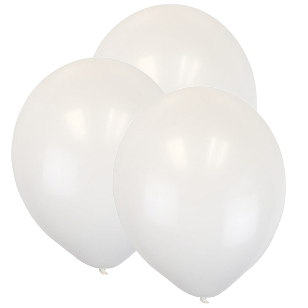 "12"" Latex Balloons 100pcs White"