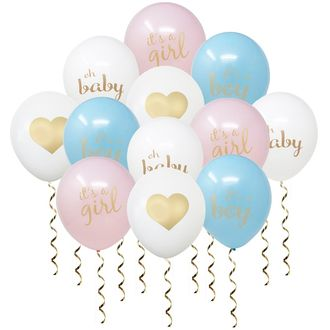 "12"" Latex Balloons 12pcs Baby Gender Reveal Balloon Bouquet"